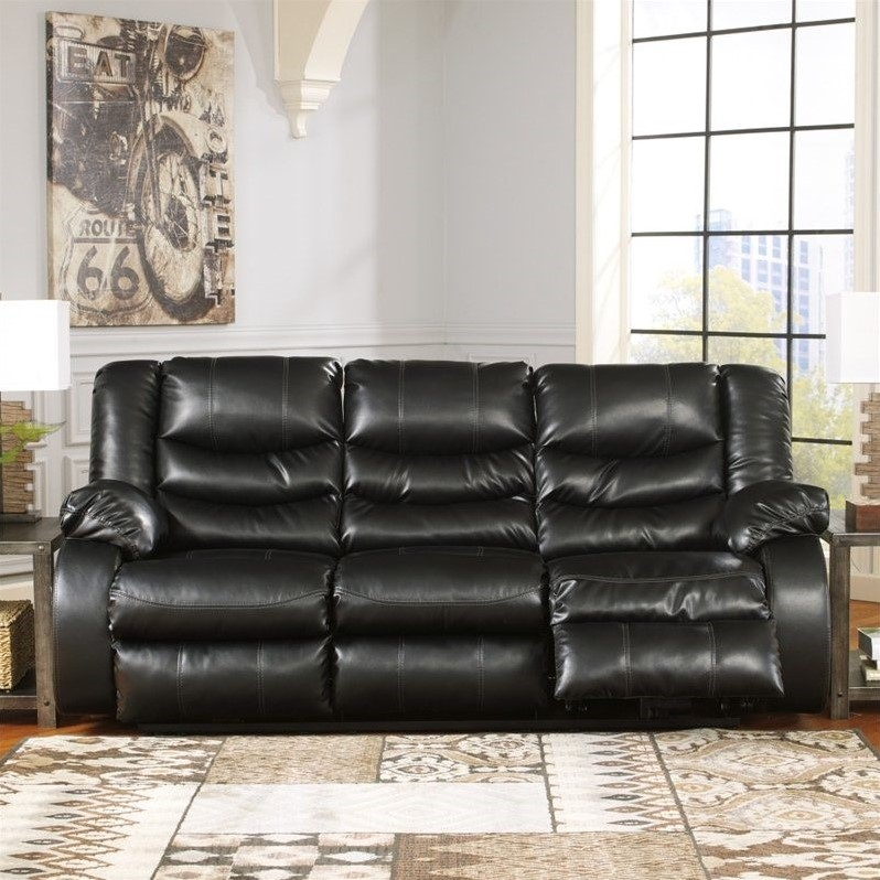 Ashley Furniture Linebacker Leather Reclining Sofa in Black  9520288