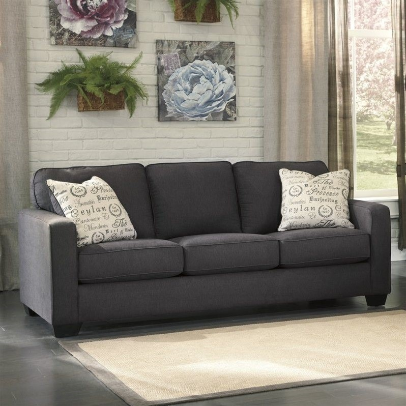 Ashley Furniture Alenya Microfiber Sofa in Charcoal  1660138