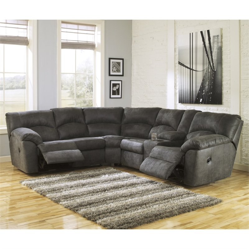 costco leather chairs ergonomics chair signature design by ashley furniture tambo fabric reclining sectional in pewter - 2780148-49-kit