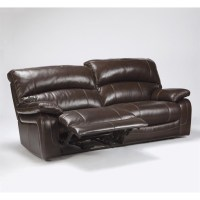 Ashley Furniture Damacio Leather Reclining Sofa in Dark
