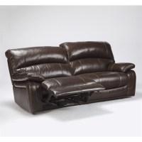 Ashley Furniture Damacio Leather Reclining Sofa in Dark ...