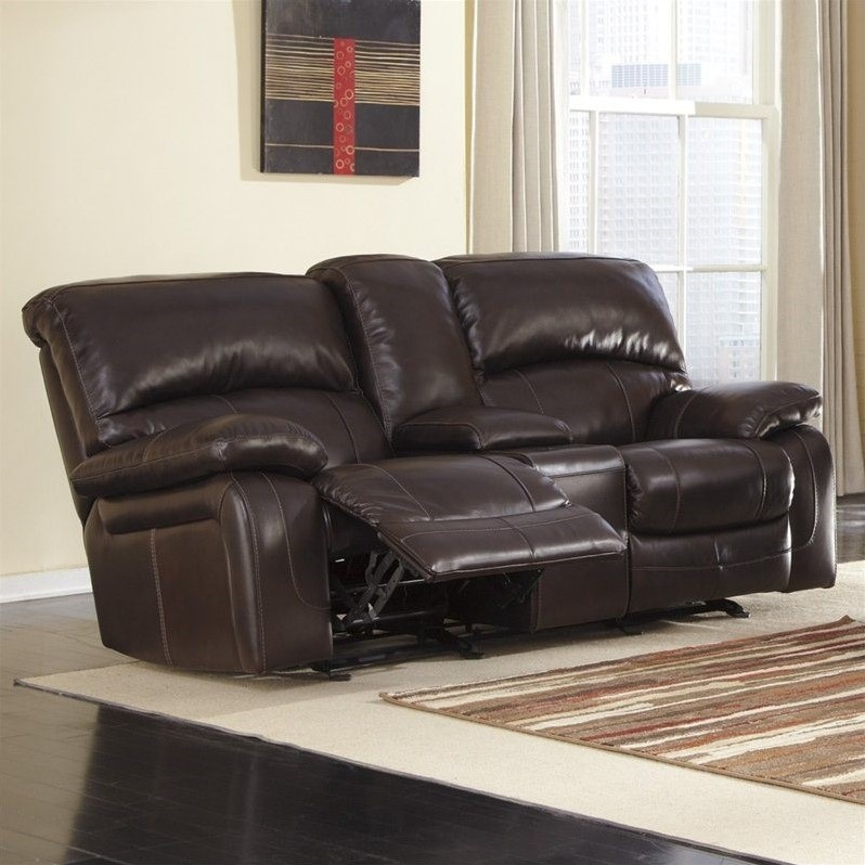 Ashley Furniture Damacio Leather Power Reclining Loveseat