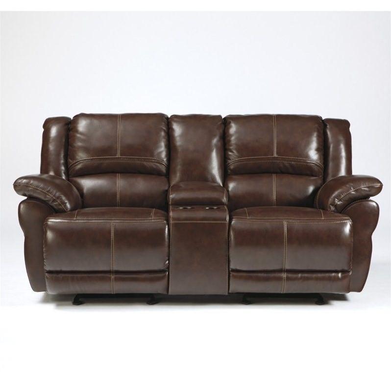 Ashley Furniture Lenoris Leather Glider Reclining Loveseat