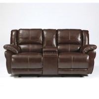 Ashley Furniture Lenoris Leather Glider Reclining Loveseat ...
