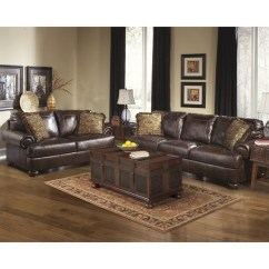 Ashley Furniture Sofa Sales Contemporary Axiom 2 Piece Leather Set In Walnut ...