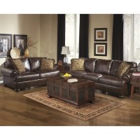 Ashley Furniture Axiom 2 Piece Leather Sofa Set in Walnut