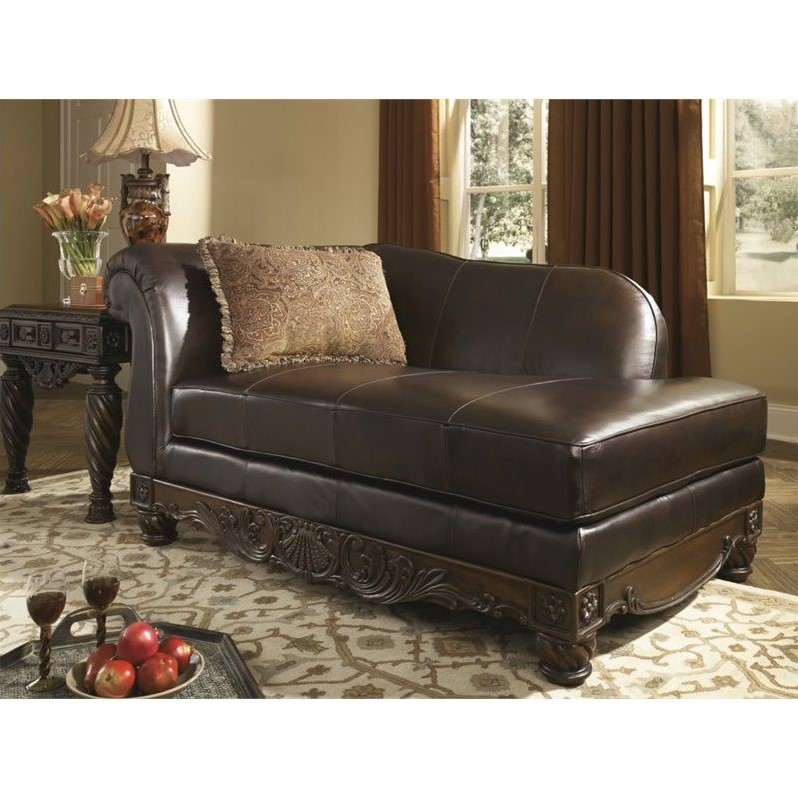 Ashley North Shore Leather Right Chaise Lounge in Dark Brown  2260316