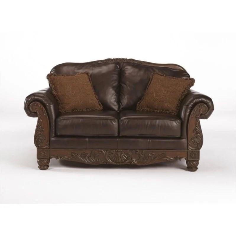 Ashley Furniture North Shore Leather Loveseat in Dark