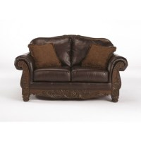 Ashley Furniture North Shore Leather Loveseat in Dark