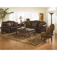 Decorative Pillows Brown Leather Sofa Simple Elegance Sectional Ashley North Shore 3 Piece Set With Chair In ...
