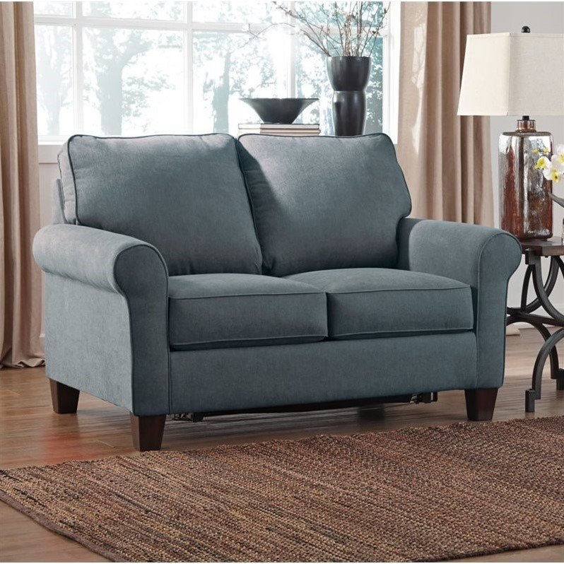 Ashley Zeth Fabric Twin Size Sleeper Sofa in Denim  2710137