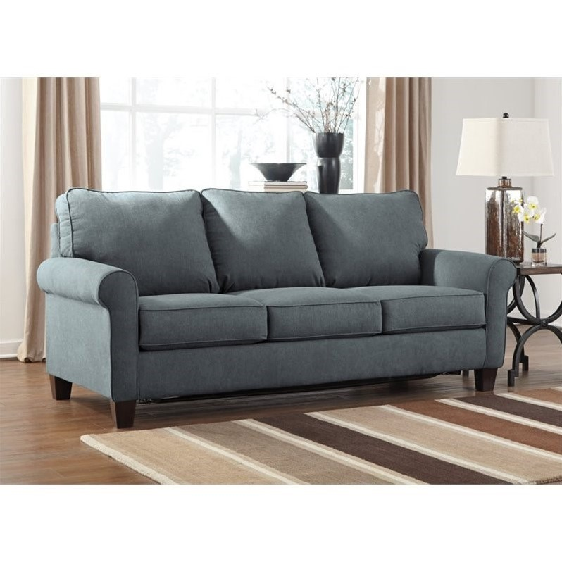 fabric queen sleeper chaise sofa lc5 bed ashley zeth size in denim - 2710139