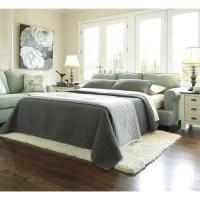 Ashley Daystar Fabric Queen Size Sleeper Sofa in Seafoam ...