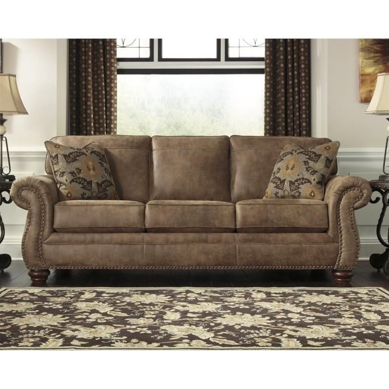 Ashley Larkinhurst Faux Leather Sofa in Earth  3190138