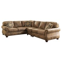 Ashley Larkinhurst 3 Piece Faux Leather Sectional In Earth