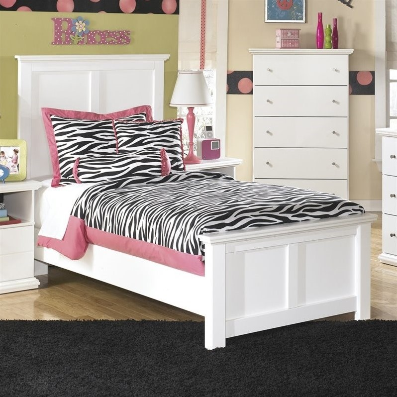 ashley furniture bostwick shoals wood twin panel bed in white