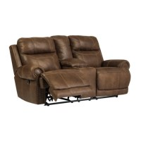Ashley Austere Reclining Faux Leather Console Loveseat in