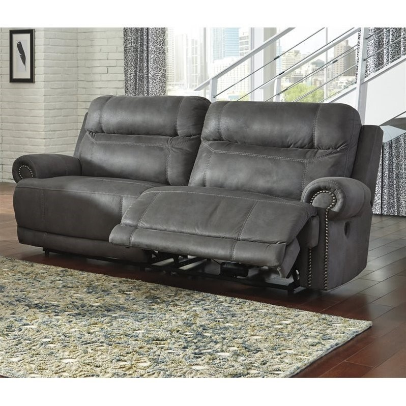 ashley faux leather sofa reviews uno left arm cb2 austere 2 seat reclining power in gray 3840147
