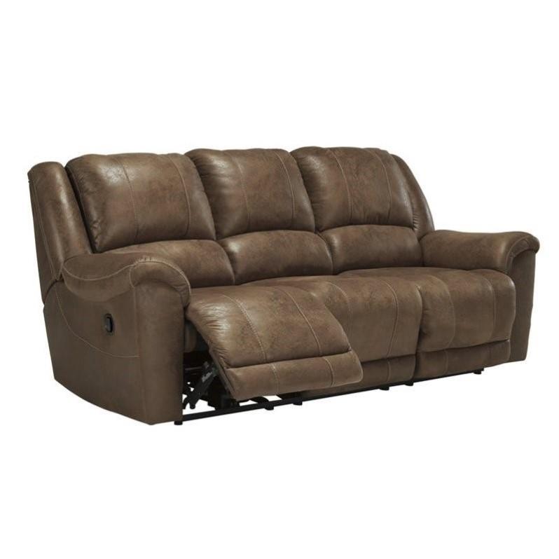 Ashley Niarobi Faux Leather Reclining Sofa in Saddle
