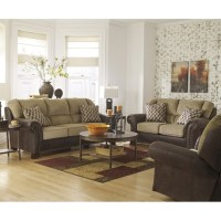 Ashley Vandive 3 Piece Chenille and Faux Leather Sofa Set