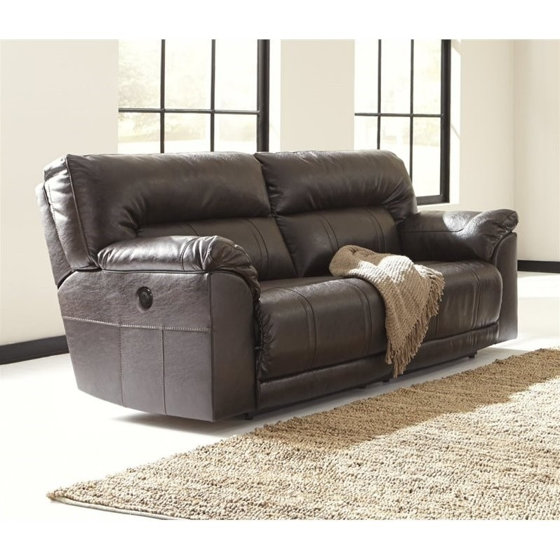 chocolate leather dining chairs best portable chair ashley barrettsville 2 seat power reclining sofa in - 4730147