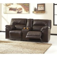 Ashley Barrettsville Leather Reclining Console Loveseat in ...