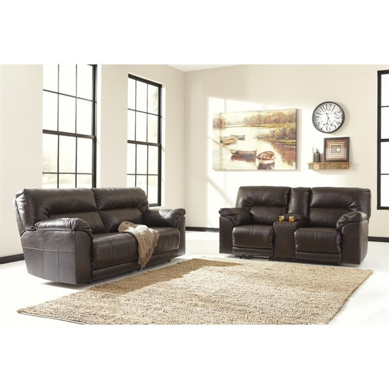 ryker reclining sofa and loveseat 2 piece set olx delhi compare ashley barrettsville leather in chocolate 551824