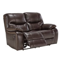 Ashley Pranas Faux Leather Power Reclining Loveseat in ...