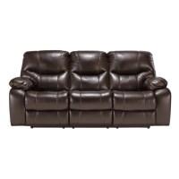 Ashley Pranas Faux Leather Reclining Sofa in Brindle - 4790088