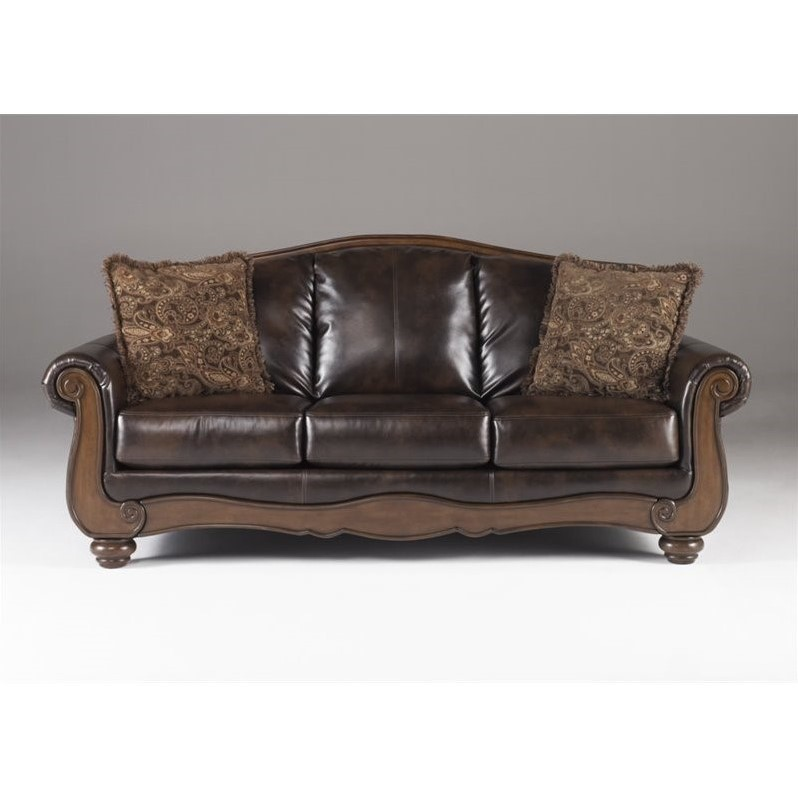 Ashley Barcelona Faux Leather Sofa in Antique