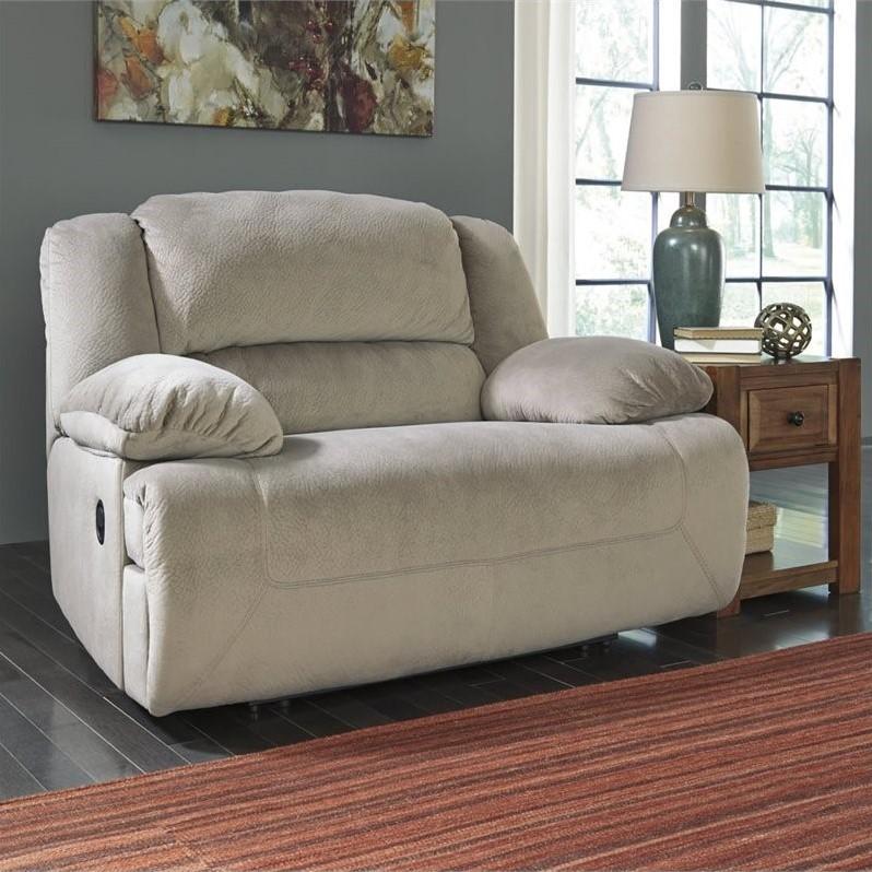 Ashley Toletta Fabric Wide Seat Recliner in Granite  5670352