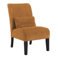 Ashley Annora Chenille Armless Accent Chair in Orange ...