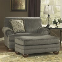 Ashley Parcal Estates Fabric Oversized Chair with Ottoman ...