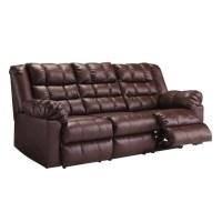 Ashley Brolayne Leather Reclining Sofa in Saddle