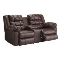 Ashley Brolayne Leather Double Reclining Console Loveseat ...