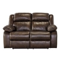 Ashley Branton Leather Reclining Loveseat in Antique
