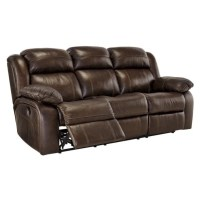 Ashley Branton Leather Power Reclining Sofa in Antique