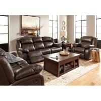 Ashley Branton 3 Piece Leather Reclining Sofa Set in