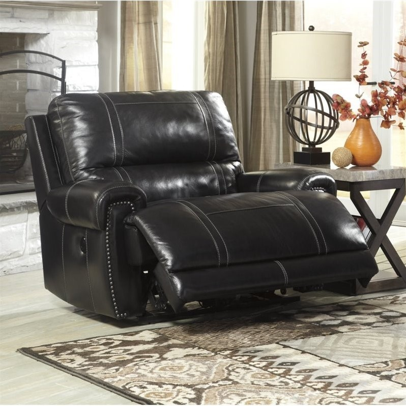 Ashley Paron Leather Zero Wall Wide Power Recliner in