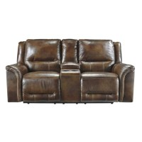 Ashley Jayron Leather Double Reclining Console Loveseat in ...