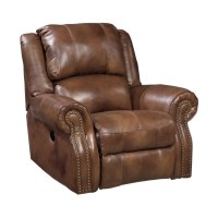 Ashley Walworth Leather Rocker Recliner in Auburn