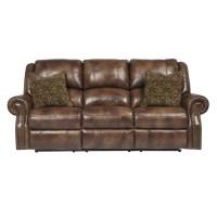 Ashley Furniture Walworth Leather Reclining Sofa in Auburn ...