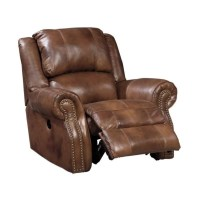 Ashley Walworth Leather Power Rocker Recliner in Auburn ...