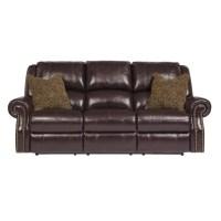 Ashley Walworth Leather Reclining Sofa in Blackcherry ...