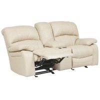 Ashley Damacio Leather Glider Reclining Loveseat with