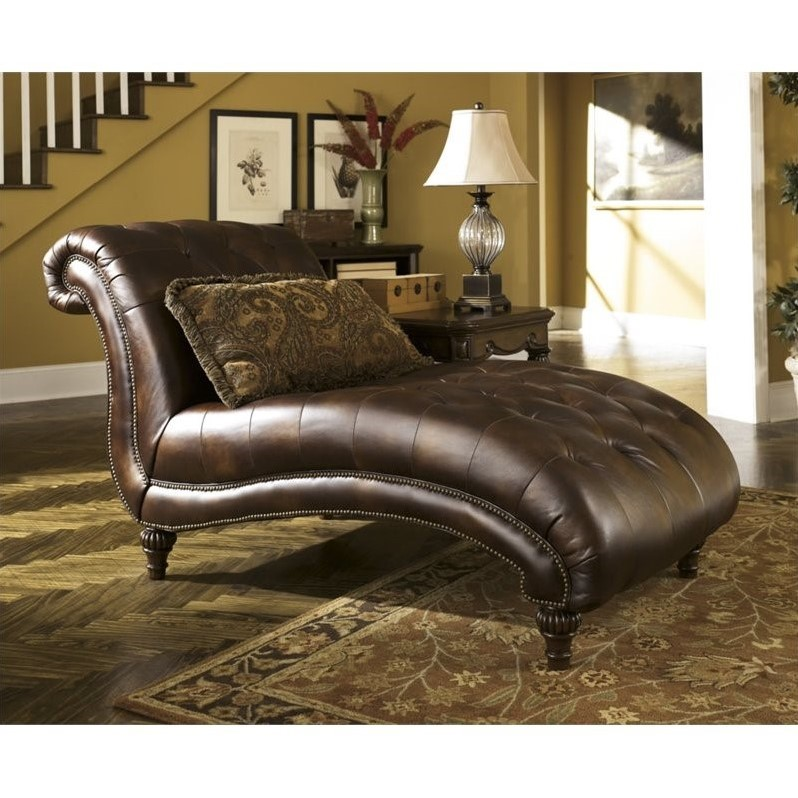 Ashley Claremore Faux Leather Chaise In Antique 8430315