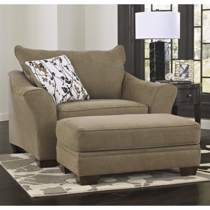 Ashley Mykla Fabric Oversized Chair with Ottoman in