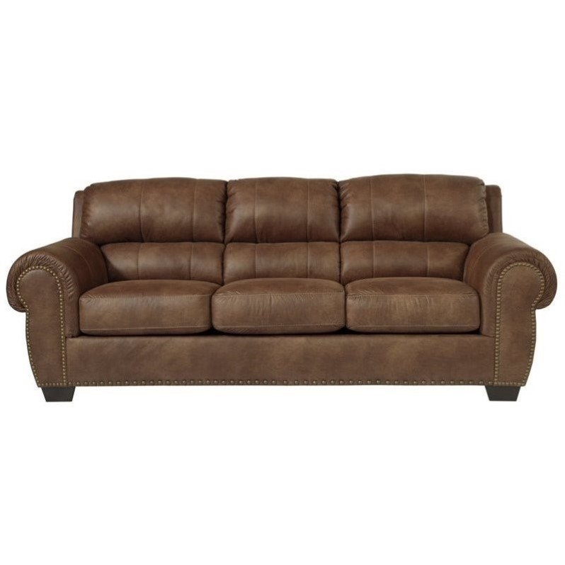 ashley faux leather sofa reviews elite sofas burnsville queen size sleeper in ...
