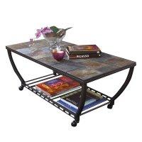 Ashley Antigo Slate Tile Rectangular Coffee Table and ...