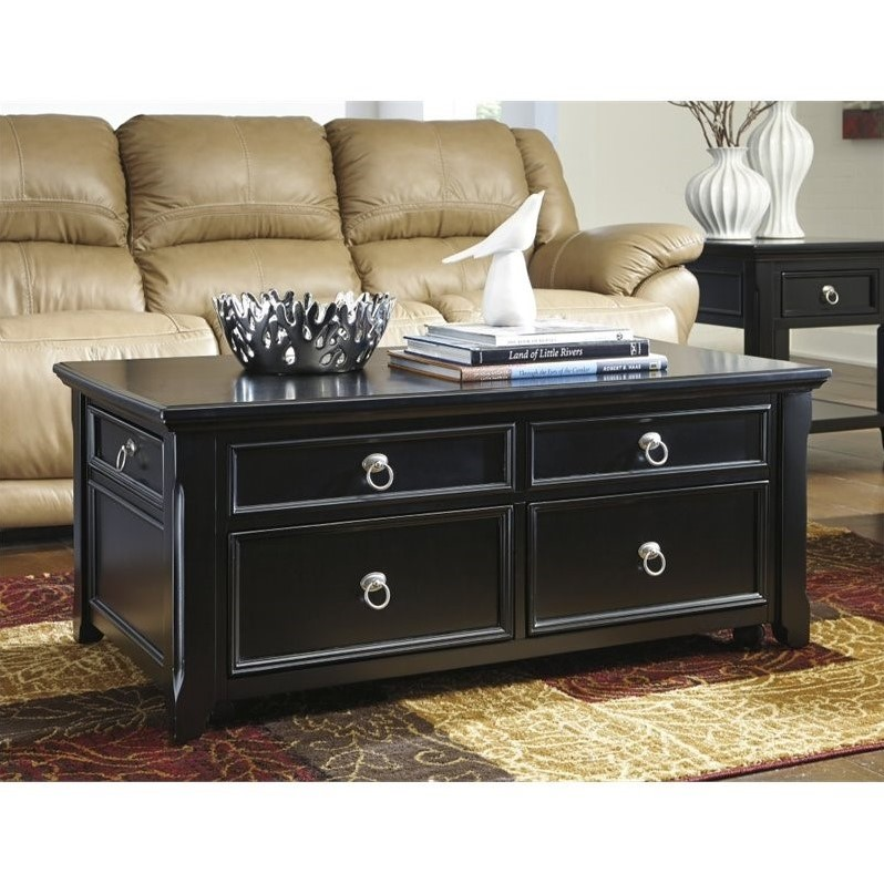 Ashley Greensburg Lift Top Coffee Table in Black  T81120